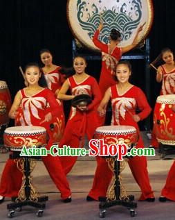 Chinese Drum Dance Costumes Complete Set for Women