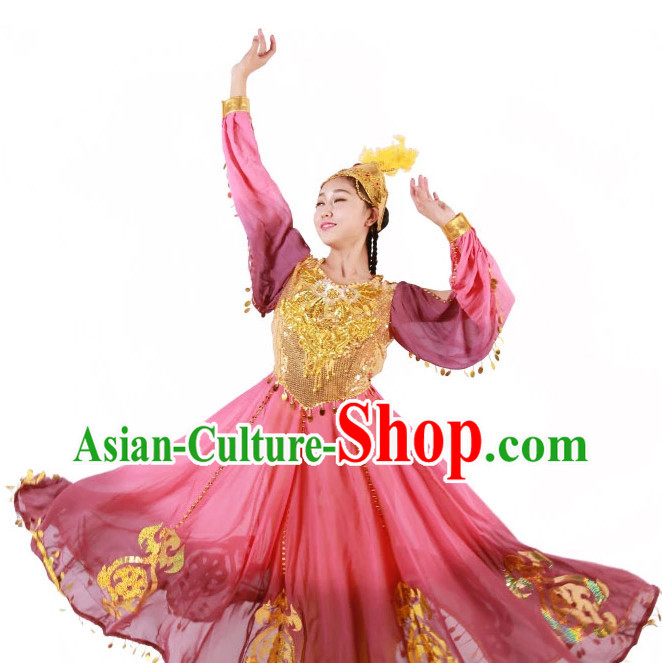 Custom Made Chinese Xinjiang Group Dance Costumes for Women