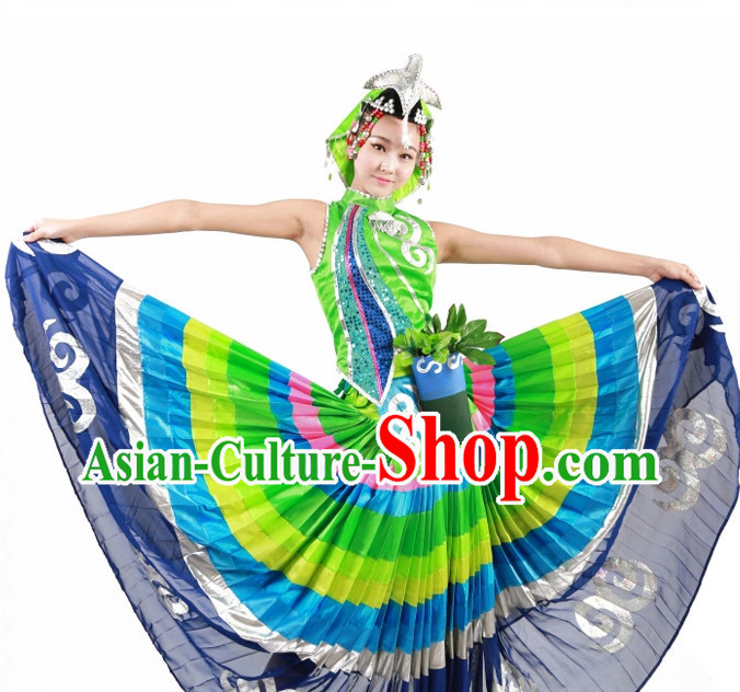 Custom Made Chinese Yi Minority Group Dance Costumes for Women