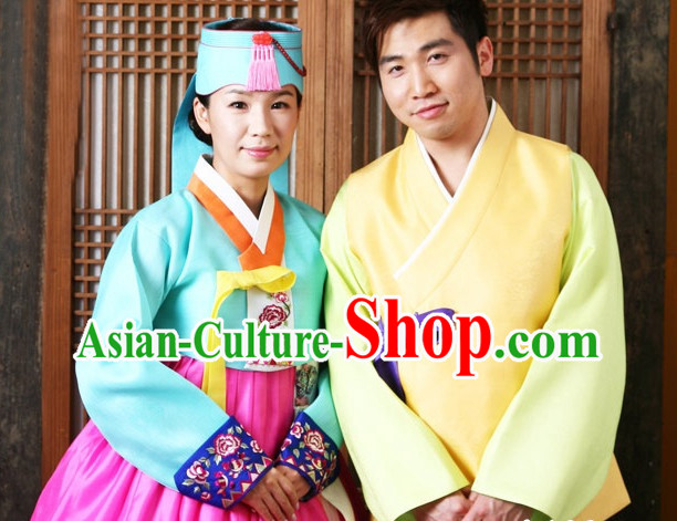 Korean Traditional Couple Wedding Veils Clothes Complete Set for Men and Women