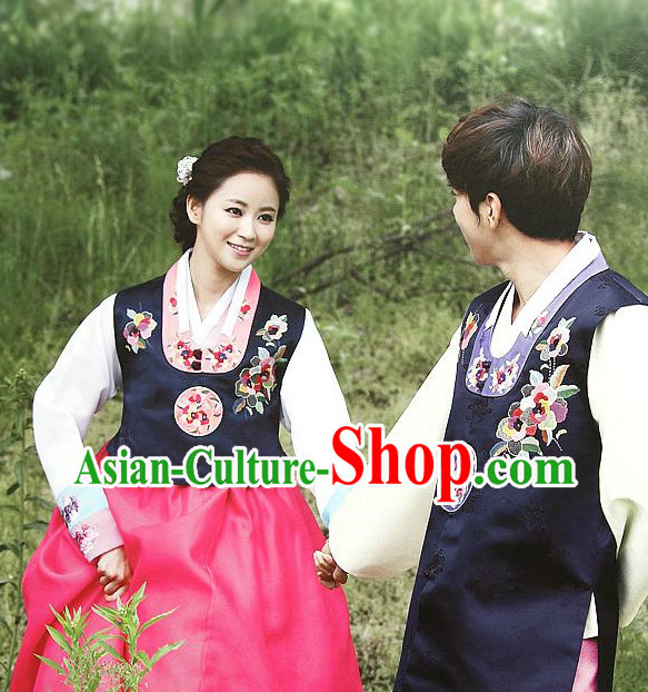 Korean Traditional Wedding Veils Clothing Complete Set for Brides and Bridegrooms