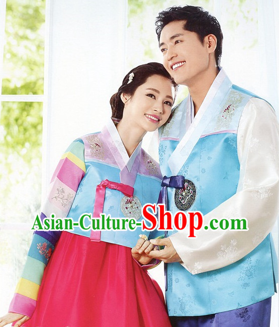 Korean Traditional Bridal Wedding Veils Clothing Complete Set for Brides and Bridegrooms