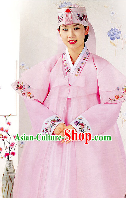 Top South Korean Bridal Brides Hanbok Wedding Dress and Hat Complete Set