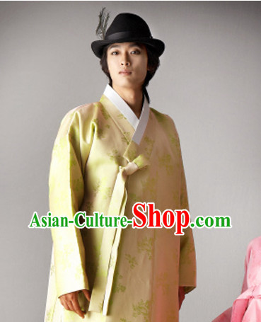 Top South Korean Bridal Bridegroom Hanbok Wedding Dress and Hat Complete Set