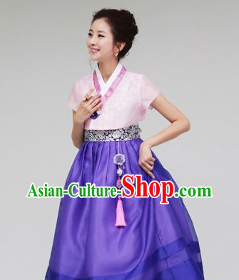 Top Short Sleeves South Korean Children Hanbok Clothing Dresses Complete Set