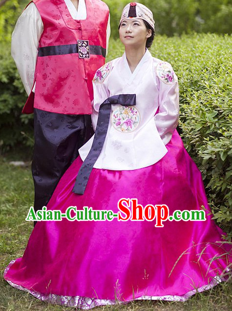 Korean Fashion Traditional Hanbok Wedding Dress and Hat Complete Set for Women