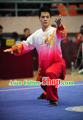 Color Transition Top Asian Chinese Tai Chi Qi Gong Yoga Long Sleeved Uniform for Men