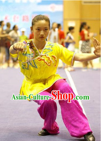 Top Asian Chinese Martial Arts Southern Fist Qi Gong Yoga Short Sleeved Uniform for Women
