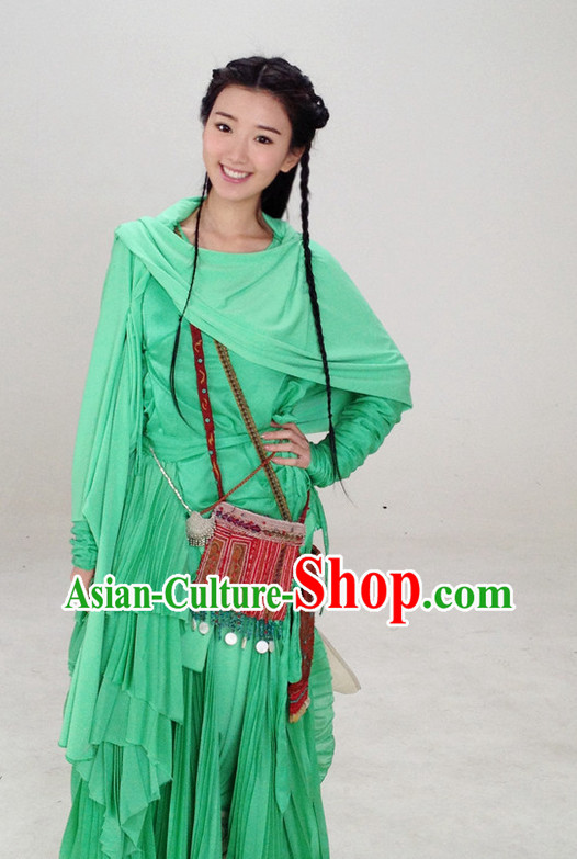 Asian Fashion Green Hanfu Fairy Costumes Complete Set for Girls