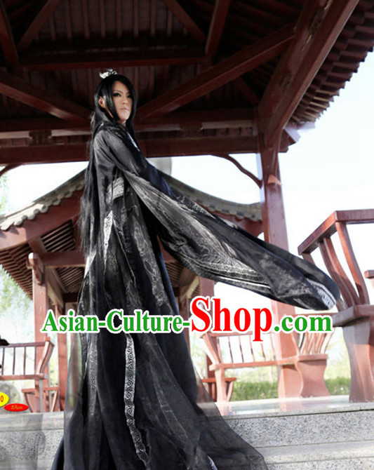 Asian Warrior Black Hanfu Costumes Complete Set for Men