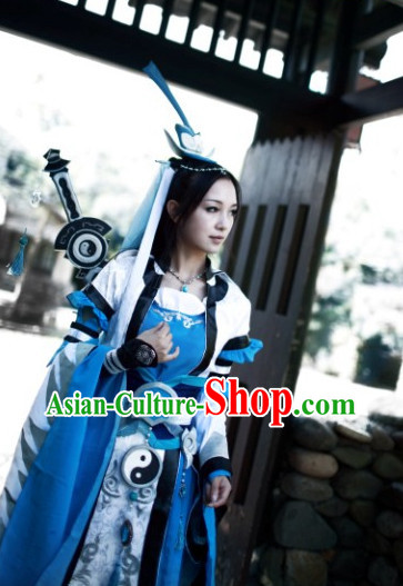 Chinese Costumes Traditional Clothing China Shop Taoist Nun Cosplay Costumes