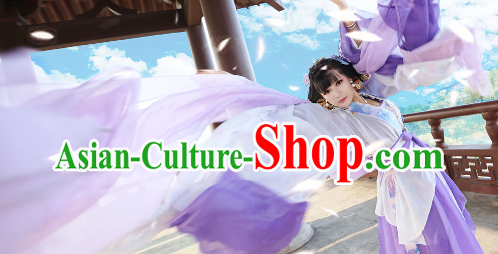 Chinese Costumes Traditional Clothing China Shop Purple Lady Classical Dance Costumes