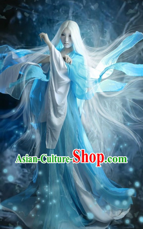 Chinese Costumes Traditional Clothing China Shop Blue White Fairy Cosplay Halloween Costumes