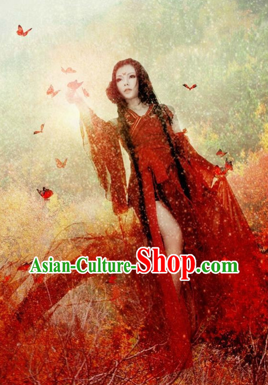 Chinese Costumes Traditional Clothing China Shop Red Beauty Cosplay Halloween Costumes