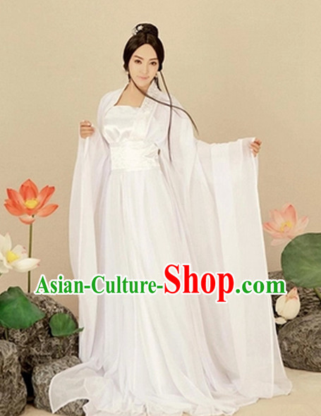 Asian Fashion Chinese Pure White Hanfu Halloween Costumes for Women