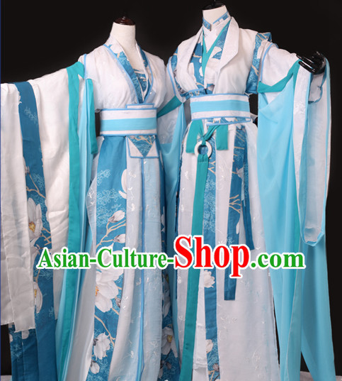 Chinese Male and Female Scholars Halloween Costumes Hanfu Suits Outfits 2 Sets