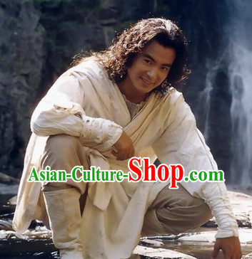 Chinese Pure White Hanfu Clothing Asia fashion China Civilization Complete Set for Men