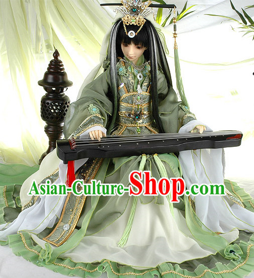 China Civilization Chinese Green Prince Clothing and Hair Jewelry Complete Set for Men