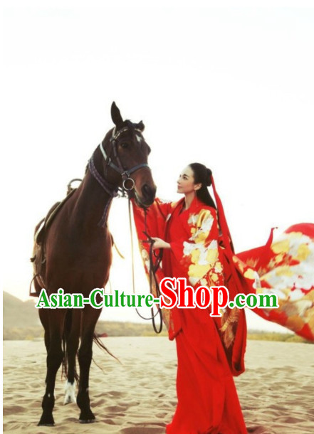 China Civilization Chinese Kimono Costume and Hair Bands Complete Set for Women