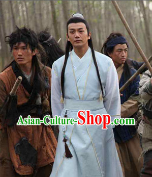 Chinese Swordsmen Costumes China Civilization and Hair Bands Complete Set for Men