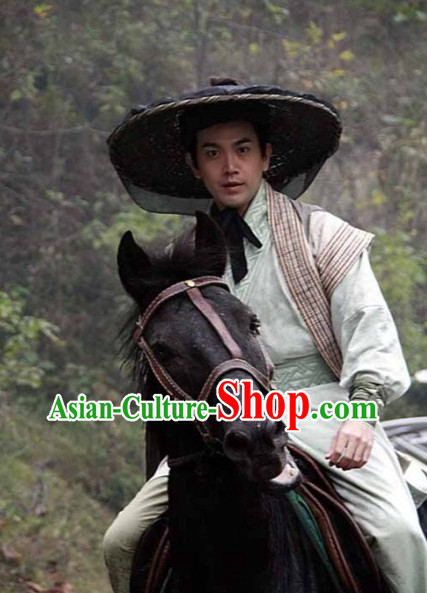 Chinese Swordman Costumes and Bamboo Hat Complete Set for Men