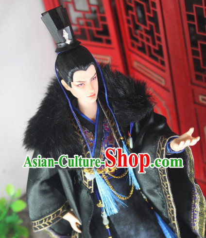 Chinese Ancient Black Emperor Costumes and Hat Complete Set for Men