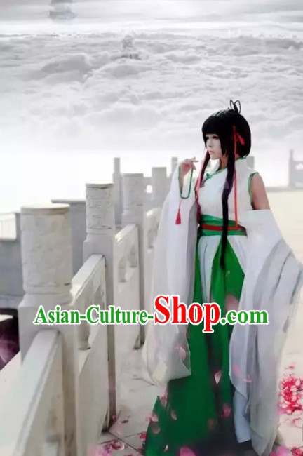 Chinese White Hanfu Costumes Asian Fashion Complete Set for Women
