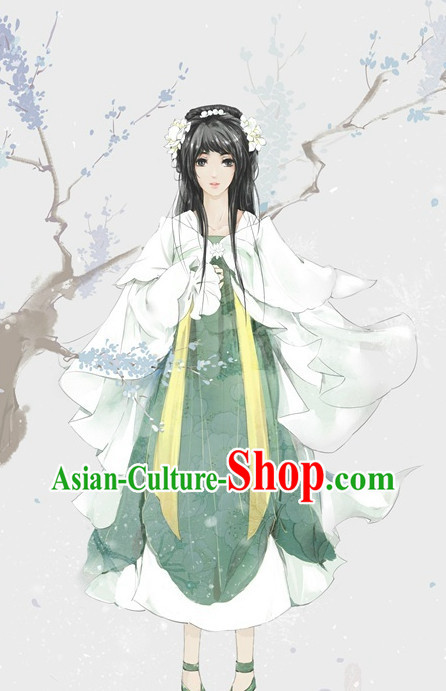 Chinese Fairy Costumes and Hair Jewelry Complete Set for Women