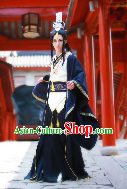 Black Chinese Prince Cosplay Costumes Asian Fashion Complete Set for Men