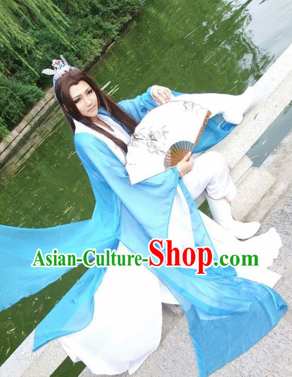 Asian Fashion Chinese Childe Classical Hanfu Clothes Complete Set for Men