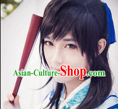 Chinese Traditional Black Swordman Wig for Men