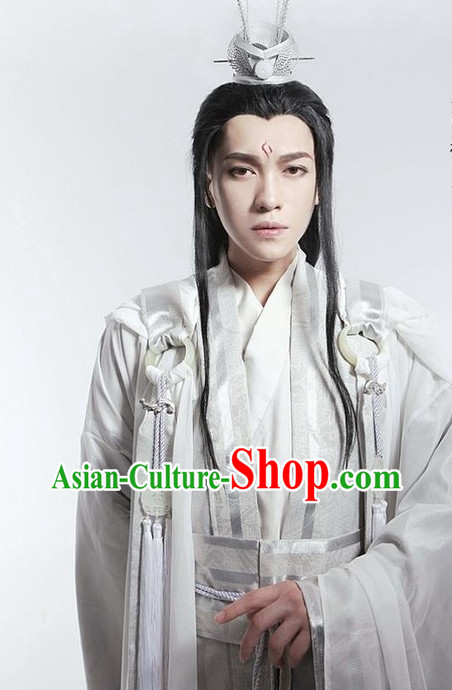 Asian Fashion Chinese Childe Clothes and Hair Jewelry Complete Set for Men