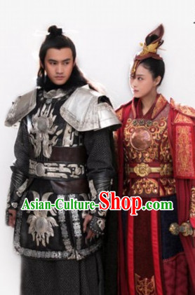 Asian Fashion Chinese Fighter Armor Halloween Costumes Complete Set for Men