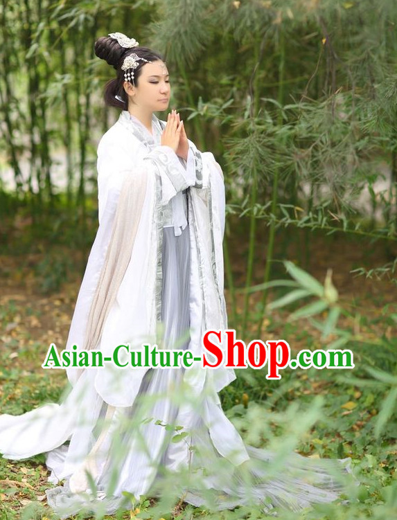 Asian Fashion Chinese Female Hanfu Clothing and Hair Jewelry Complete Set for Women