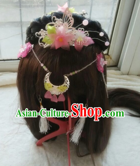 Chinese Traditional Princess Wig and Hair Accessories Hair Jewelry Set