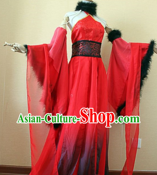 Asian Fashion Chinese Red Sexy Halloween Costumes Complete Set for Women