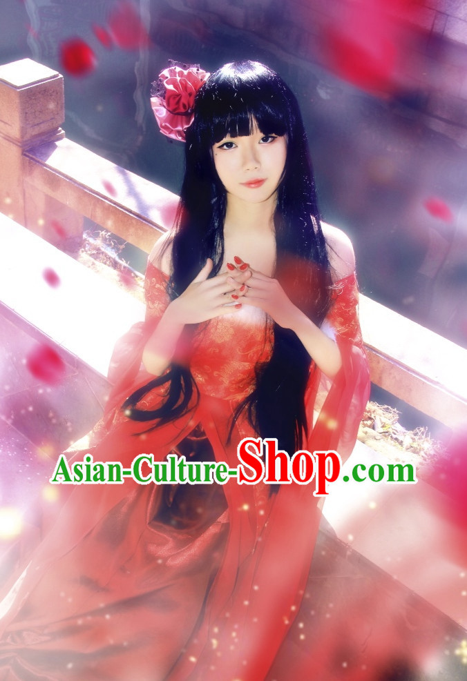 Red Asian Fashion Chinese Kimono Costumes Complete Set for Women