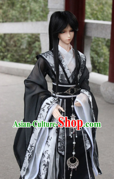 Asian Fashion Chinese Black Emperor Costumes Hanfu for Men