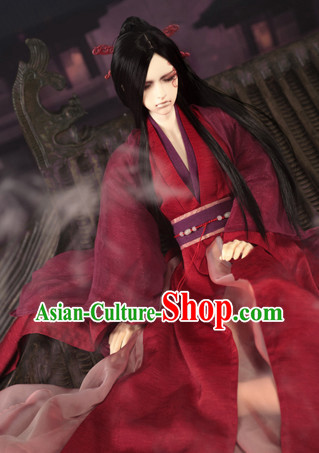 Asian Fashion Chinese Deep Red Kung Fu Master Costumes Hanfu Complete Set for Men