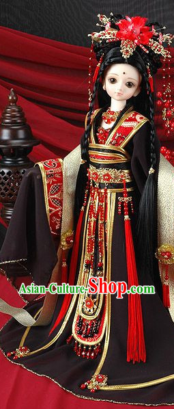 Asia Fashion China Civilization Chinese Queen Costume and Hair Jewelry Complete Set