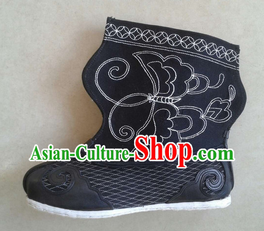 Handmade Chinese Traditional Ancient Warrior Wrestler Men Black Leather Boots Footwear