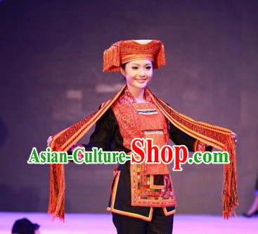 Chinese Ladies Minority Ethnic Clothing and Hat