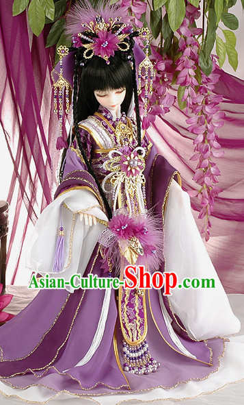 Chinese Traditional Princess Hanfu Clothes and Headdresses Complete Set