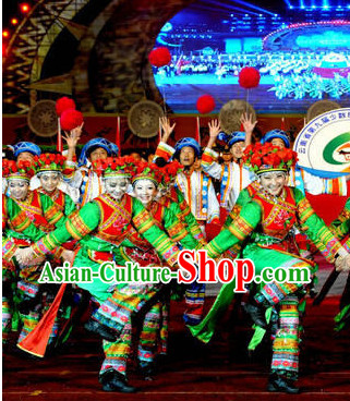 Chinese Traditional Ethnic Dance Costumes and Headdresses Complete Set