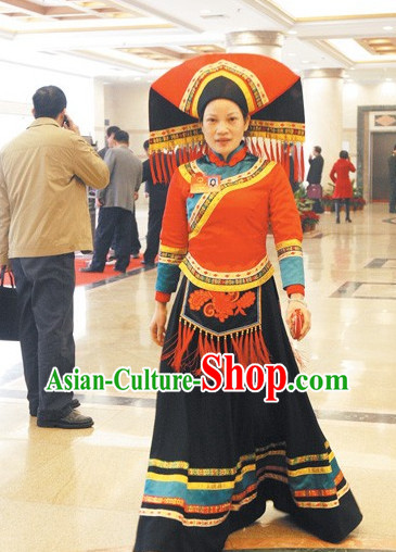 Chinese Traditional Ethnic Costumes and Headdresses Complete Set