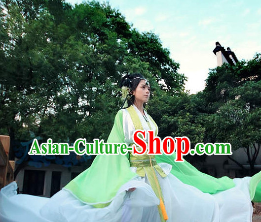Chinese Green Fairy Costumes and Headdresses Complete Set for Women