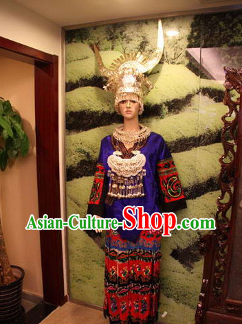 Chinese Traditional Miao Clothing and Silver Hat Complete Set for Women