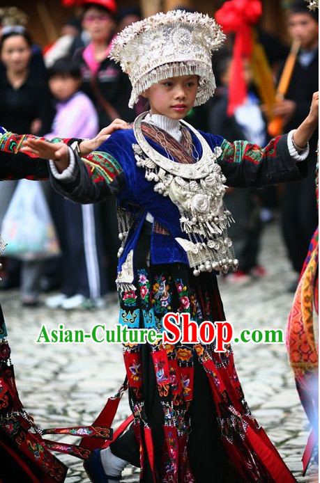 Chinese Traditional Miao Clothing and Silver Hat Complete Set for Kids Girls