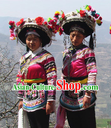 Oriental Clothing Chinese Miao Embroidered Costumes and Silver Hat Complete Set