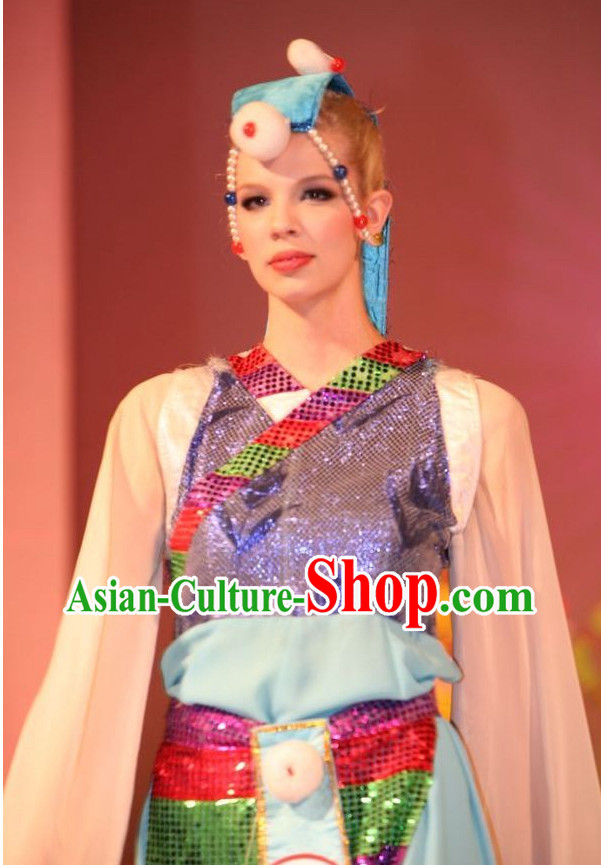 Oriental Clothing Chinese Tibetan Dance Costumes and Headdresses Cheap Dance Costumes online
